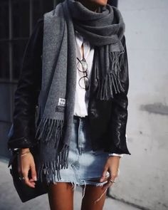 I'm not into the jean skirt but I Love this scarf
