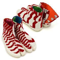 Dan Dan Red and White Tabi Split toe shoes : SOU • SOU US Online Store