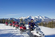 Snowmobiling in Telluride, with the Wilson Range in the background. Thank you to Telluride Snowmobile Adventures for taking us out! Photo by Ryan Bonneau. Property of the Telluride Tourism Board.