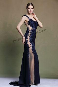 Dark Blue one shoulder Little Train Sex Evening Dress 3Y337