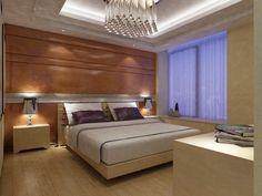 Zeitgenössisches Schlafzimmer Mit Viel Holz, Auch Wenn Das Holz Getäfelte  Wand  Und Leichtes Holz