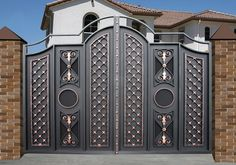 50 The Best Gate Design That You Have to Try in Your Home - decortip Home Gate Design, House Main Gates Design, Front Gate Design, Steel Gate Design, Entrance Design, Door Design, Front Gates, Entry Gates, Gate Designs Modern