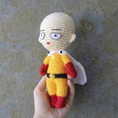 Hi everyone! This past few days I've been super lazy about creating new amigurumi patterns, and this is mostly because I lack the materials to do what I want. I really need to fix that ASAP.… Crochet Doll Pattern, Plush Pattern, Crochet Patterns Amigurumi, Crochet Dolls, Crochet Gifts, Cute Crochet, Crochet Men, Saitama Anime, Loom Knitting