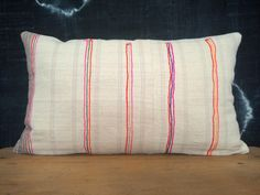 """12""""x 20""""  White and Stripes Ethnic Hmong Hand Woven Lumbar Pillow Cover, Vintage Hill Tribal Textile Pillow Case, Bohemian Throw Pillow"""