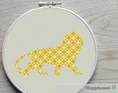 cross stitch pattern lion silhouette, modern cross stitch, PDF,  ** instant download**
