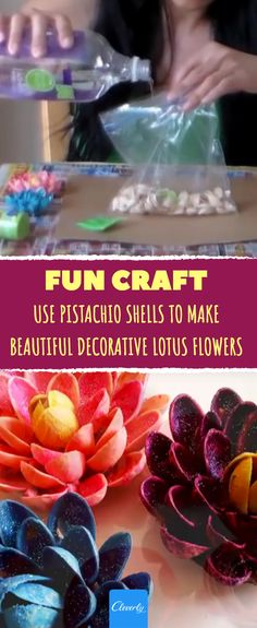 Fun craft: Use pistachio shells to make beautiful decorative lotus flowers Shell Crafts Kids, Flower Crafts Kids, Craft Stick Crafts, Toddler Crafts, Fun Crafts, Crafts For Kids, Craft Ideas, Craft Flowers, Adult Crafts