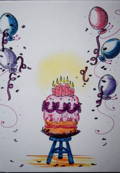 Balloon.  Sells for 499. Sold separately are the cake, milking stool. This is retired balloon stamp.   Made by by Art Impressions. Rubber Stamps.You can purchase these from my ebay store: Pat's Rubber Stamps & Scrapbooks, Click on the picture here to see the listing , or call me 423-357-4334 with order, . We take PayPal. You get FREE SHIPPING ON PHONE ORDERS of $30.00 or more. Use my search engine to find all items you are interested in. If this shows sold I have more in my ebay store.