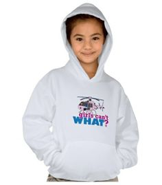 Enjoy winter weather with the Hanes ComfortBlend Hooded Sweatshirt. Features double-needle stitched neckline armholes and bottom band, kangaroo pocket, and 50/50 cotton poly blend (100% cotton face) fabric. Use the ColorizeME Tool to create a personalized gift she'll love! http://www.girlscantwhat.com/personalized-gifts/helicopter-pilot/ #girlscantwhat #girlpower #pilot