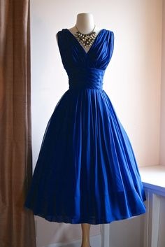 blue vintage dress 40s cocktail swing V neck dress