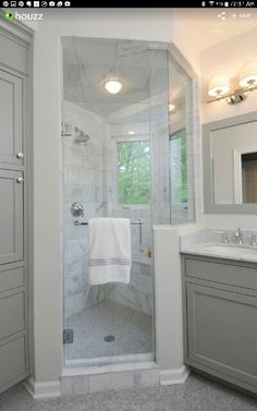 Like the gray on cabinets and mirror. Granite looks similar to Glacier white and similar chrome faucets.
