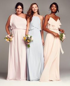 NOUVELLE AMSALE chiffon bridesmaids dresses- mix and match styles and hues to create the perfect bridal party look!
