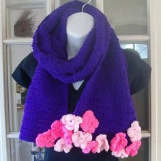 Sale purple hand crocheted scarf with pink by MatsonDesignStudio, $12.00