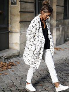 Le parfait look noir et blanc #34 (manteau My Sunday Morning - blog Noholita)