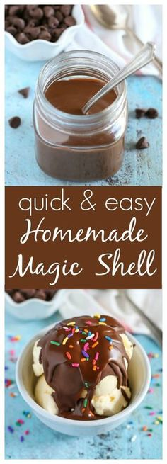 An easy recipe for Homemade Microwave Magic Shell with just two ingredients. Per… An easy recipe for Homemade Microwave Magic Shell with just two ingredients. Perfect for topping on almost any ice cream! Frozen Desserts, Frozen Treats, Just Desserts, Delicious Desserts, Ice Cream Treats, Ice Cream Toppings, Ice Cream Recipes, Custard Recipes, Dessert Sauces