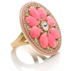 Kate Spade Out Of Office Grapefruit Ring ($69) ❤ liked on Polyvore featuring jewelry, rings, cocktail rings, evening jewelry, kate spade jewelry, kate spade and holiday jewelry