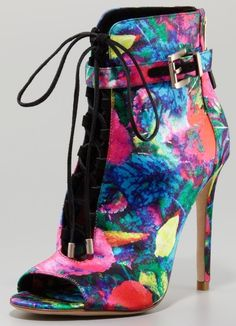B Brian Atwood Floral-Print Satin Bootie - Bergdorf Goodman Brian Atwood, Jimmy Choo, Bootie Boots, Shoe Boots, Ankle Boots, Open Toe Boots, Bergdorf Goodman, Beautiful Shoes, Satin