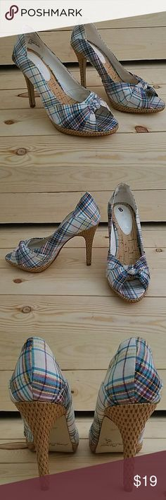 "ANNE MICHELLE Colorful Canvas Peep Toe Heel Worn only 1 time-Great Condition. Darling summer plaid peep toe. 4"" wicker inspired heel with inner elastic band for grip while walking. Shoes Heels"