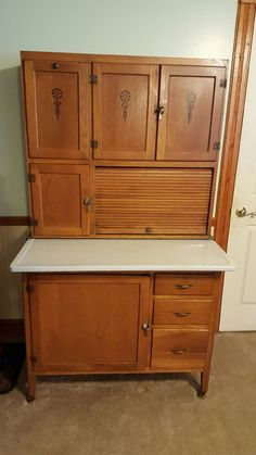 Antique Hoosier Cabinet W Enamel Top Sifter Primitive Kitchen Delivery  Options