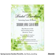 "Spring Leaves Garden Floral Bridal Luncheon Card - Host a beautiful bridal luncheon with this tasteful ""Spring Leaves"" invitation, ready to customize with your event details. You can edit the wording and use this invitation for other types of parties and gatherings as well. Whether a birthday party, bridal shower, brunch, cocktail party or other events, this invitation fits a variety of occasions. Sold at Oasis_Landing on Zazzle."