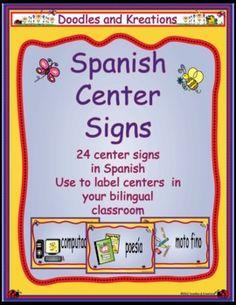 Spanish Center Signs $5,95 Dual Language Classroom, Bilingual Classroom, Bilingual Education, English Classroom, Teaching Activities, Language Activities, Teaching Tools, School Fun, School Ideas