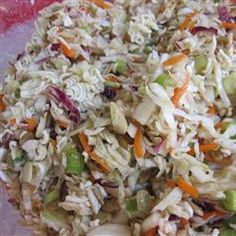 Dad's Asian Slaw Allrecipes.com  I've made this recipe quite a few times.  It accompanies many main dishes. Enjoy!