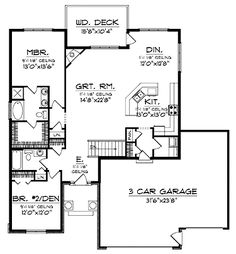 Ranch House Plan 62538 Cars House plans and Back back