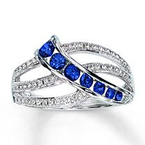 10K White Gold Diamond & Natural Blue Sapphire Ring