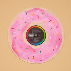 Pink frosting and sprinkles, the best kind of donut! This hand painted record is perfect for any donut lover. Easy to hang, and would be the