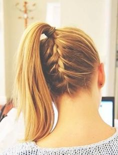 Braid pony tail. Cute for when I put my hair up for sports