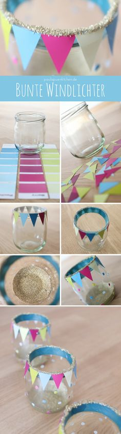 DIY-Tischdeko: Bunte Windlichter basteln y Manualidades Reciclaje y Manualidades Ideas y Manualidades ✂️ Teen Diy, Diy For Teens, Crafts For Teens, Diy For Kids, Diy And Crafts, Ideias Diy, Diy Décoration, Sewing Table, Diy Candles