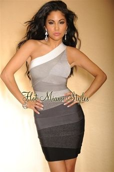 850ff9208e9 HMS EXCLUSIVE  Black Grey Ombre One Shoulder LUXE Bandage Dress