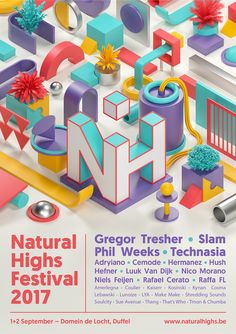 Artworks, graphic design and teaser for Natural Highs Festival 2017, an electronic outdoor music festival in Antwerp, Belgium.
