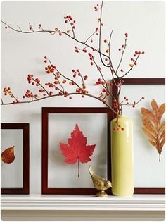 To preserve the beauty of colorful fall foliage, press leaves between books. When fully dry, display leaves between two pieces of same-sized glass. Secure the pieces of glass together by wrapping the edges with colored, linen book cloth tape. Add a berry-covered branch for a simple mantel display.