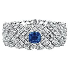 """""""Signature De Saphir"""" Bracelet from SignatureDeChanel - Chanel - FineJewelry collection in 18K white gold set with a 10 carat CushionCut - Sapphire, 42 SquareCut - Diamonds (total weight 3.2 cts), 24 BaguetteCut - Diamonds (total weight 1.4 cts) and 582 BrilliantCut diamonds (total weight 10.6 cts) - January 2016"""