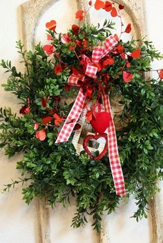 A valentine wreath that I would use for Christmas.