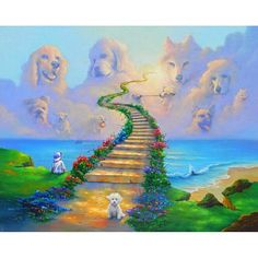 All Dogs Go to Heaven 2 All Dogs go to Heaven by Jim Warren. Hand signed and embellished giclee print on canvas. All Dogs go to Heaven is part of a 3 painting series. Rainbow Bridge Poem, Heaven Painting, Pet Loss Grief, Dog Heaven, Canvas Prints, Art Prints, Canvas Art, Cross Paintings, Dog Tattoos