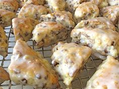Beautiful, darling, chocolate chip mini scones. One thing I learned from this recipe: freeze the scone dough for half an hour before popping it in the oven. We did this at the bakery I worked at, but I never quite understood why...