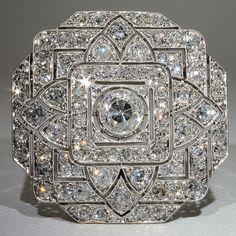 Platinum Art Deco 6+ carat Diamond Pin & Pendant. French ca. 1910.