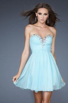shop 2013 Prom Dresses A Line Short Mini Blue Sweetheart Chiffon Rhinestone in trendy colors, wide selection cute  vintage gowns for discount.