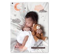 Décrocher la lune, un poster photo à personnaliser avec la photo de votre enfant, vous pouvez bouger les éléments pour les adapter à votre image Planet-cards.com
