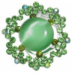 Green Crystal Scarf Clip - St Patrick's Day Gift