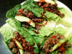 Beef, Red Bell Peppers, Avocado & Hot Sauce Lettuce Boats.
