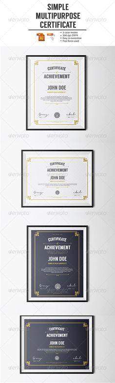 Simple Multipurpose Certificate - Certificates Stationery