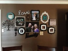 need this! love the antique frames around wood letters, love sign, bright round mirror, photos, canvas photos and random wall décor! love it would be perfect in my hall way or dining room