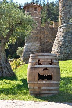 More than Pumpkins in the Wine Country :-) Castello di Amorosa Halloween Barrels  - Napa, CA