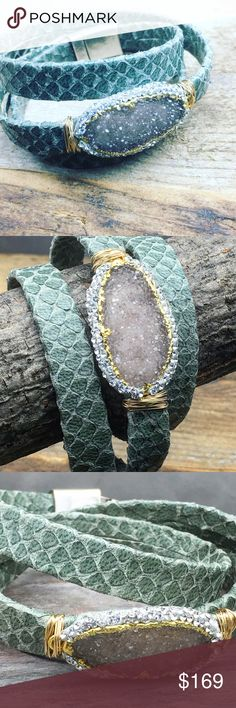 Boho chic leather wrap pave Druzy bracelet Stunning leather wrap bracelet with signature pave raw Druzy and an Python embossed leather  in grayish green undertone and a magnetic clasp closure for an easy wear. This stunning bracelet goes from day to night and will work with any color. Matana Jewelry Bracelets