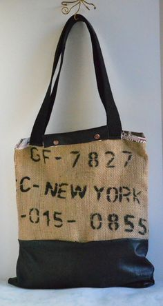 Repurposed Burlap Tote Bag  Large Leather Bag  by Liquidshiva, $66.00