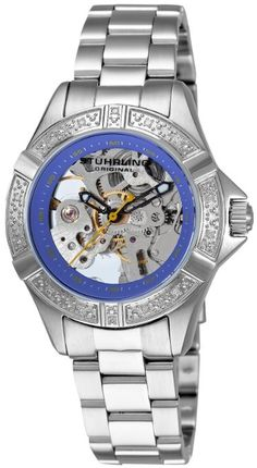 Stuhrling Original Women's  Aquadiver Regatta Skeleton Automatic Genuine Diamond Blue Dial Watch