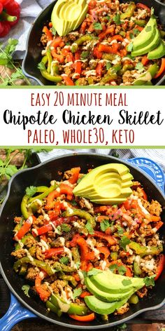 Healthy Recipes This chipotle chicken skillet checks all of my boxes. Paleo, low carb, gluten free, you name it. In under 20 minutes you've got a family friendly chicken dinner on the table or ready to be put in the fridge for meal prep. Whole 30 Chicken Recipes, Paleo Chicken Recipes, Healthy Diet Recipes, Healthy Meal Prep, Whole Food Recipes, Healthy Eating, Cooking Recipes, Eating Clean, Paleo Food