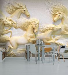 horse gold statue - Pesquisa Google Plaster Art, Unique Wallpaper, Animal Kingdom, Pet Birds, Wall Murals, Peacock, Lion Sculpture, Canvas Art, Horses